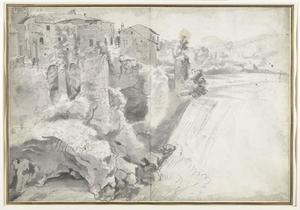 Gezicht op een grote waterval bij Tivoli