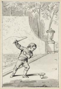 Illustratie voor 'De drijftol' in de Kleine gedichten voor kinderen door H. van Alphen