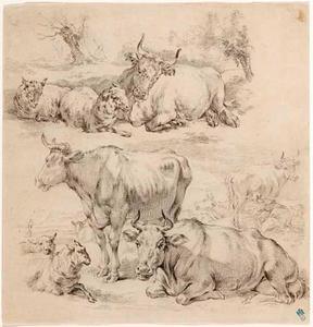Twee studies van koeien en schapen