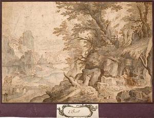 Berglandschap met de H. Hieronymus