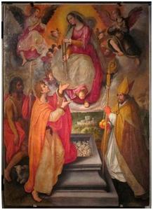 Maria tenhemelopgenomen schenkt  haar gordel aan de H. Thomas, met Johannes de Doper en H. Nicolaas