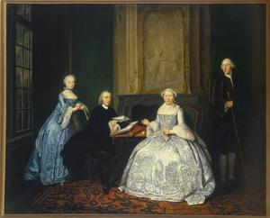 Portret van Johannes Westrik (1720-1763), Agnisa van Marken (1718-1785) en hun twee kinderen
