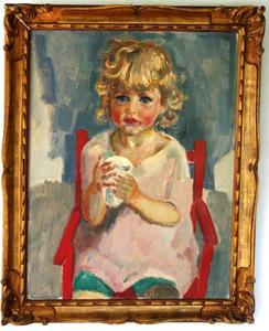 Zittend meisje met beker in de handen (Liesje)