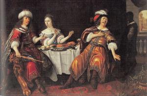 Ester bechuldigt Haman voor Ahasveros tijdens de maaltijd (Ester 7:1-17)