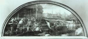 Petrus vindt de stater in de bek van de gevangen vis, in het Rathaus met gezicht op Danzig op de achtergrond