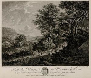 Landschap met een reiziger en een herder met een kudde schapen