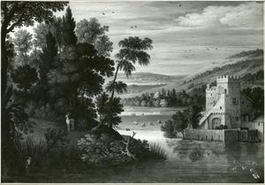 Landschap met een kasteel en een hert