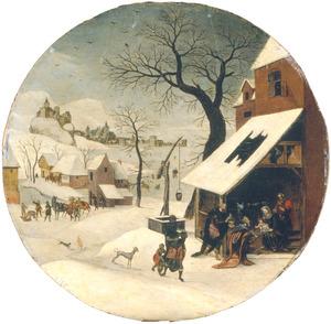 De maand januari: winterlandschap met de aanbidding van Wijzen