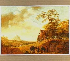 Landschap met reizigers en herders bij een herberg