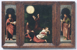 De H. Petrus (links), Christus in de Hof van Olijven (midden), de H. Paulus (rechts)