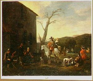 Zuidelijk landschap met ruiters en boeren bij een herberg
