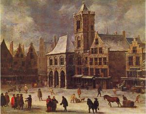 De Dam met het oude stadhuis te Amsterdam