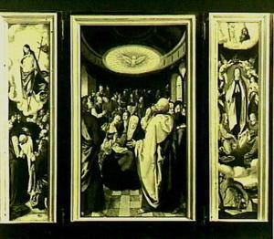 Drieluik met de hemelvaart van Christus (links), de nederdaling van de H. Geest (midden), de tenhemelopneming van Maria (rechts)