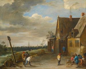 Kegelende boeren voor een herberg, met zicht op Antwerpen in de verte