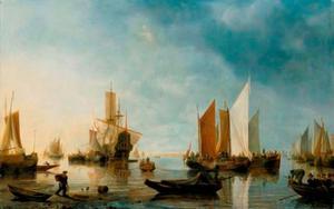 Haven met verschillende schepen voor anker en links op de voorgrond een visser met een mand op zijn rug