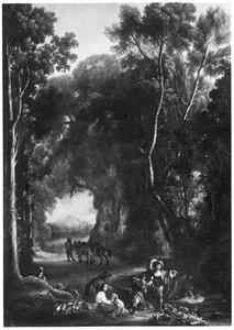 Boslandschap met rustende jagers