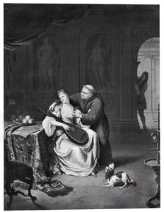 Tartuffe en Elmire verrast door Damis, de zoon van Orgon (Molière, Tartuffe, III, 3)