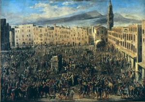 Piazza del Mercato tijdens de opstand van Masaniello