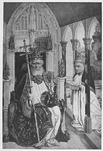 Tronende H. Petrus met tiara en sleutels en het portret van een monnik