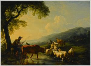 Zuidelijk heuvellandschap met herders die een kudde met koeien, schapen, geiten en ezels door een stroom drijven bij zonsondergang