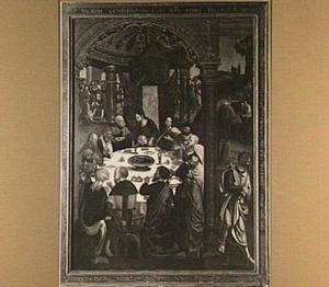 Laatste Avondmaal; Christus reikt de beker aan Judas (links), Judas vertrekt om Christus te verraden (rechts)