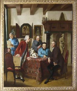 Portret van Cornelis Ploos van Amstel (1726-1798) met enkele kunstliefhebbers