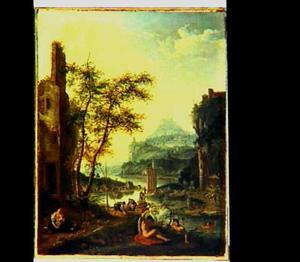 Rivierlandschap met baders; aan weerszijden ruïnes