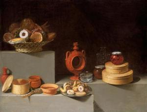 Stilleven met snoep en aardewerk
