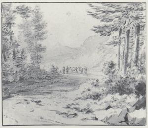 Bospad met herders en vee