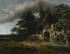 Landschap met figuren buiten de muren van een vervallen kerk