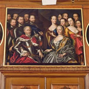 Groepsportret van Johan van Isendoorn (?-voor 1558) en Margaretha van Rossem (?-1558) en hun 13 kinderen.