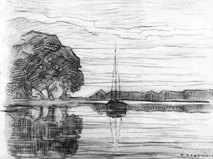 River scene with sailboat