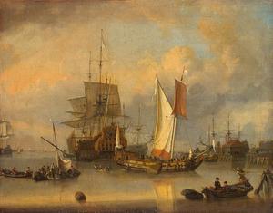 Zeilschepen op het IJ voor Amsterdam