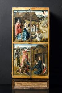 De aanbidding van het Christus-kind door Maria en Jozef (boven) en de aanbidding der Wijzem (onder