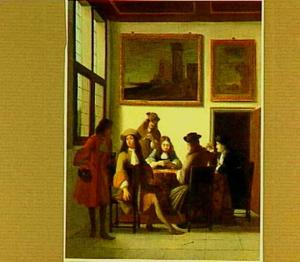 Interieur met kaartspelende heren