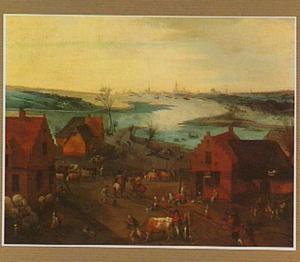 Panoramisch landschap met een dorp aan een rivier. In de achtergrond de stad Antwerpen