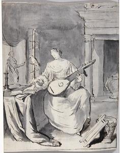 Luitspelende vrouw in interieur