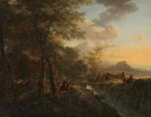 Italiaans landschap met een tekenaar