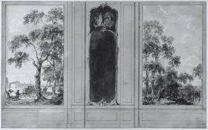 Zijwand met twee behangselvlakken ter weerszijden van een paneel met een pendantspiegel