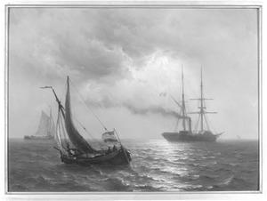 Zeegezicht met zeilschepen en een stoomboot