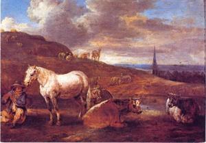 Landschap met fluitspeler en wit paard