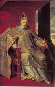 Portret van koning Sigismund III Wasa van Polen (1566-1632) in kroningsgewaad