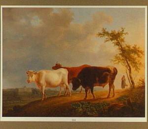 Drie koeien met een herderin op een landweg, een paleis op de achtergrond