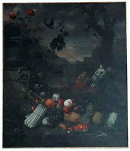 Stilleven van vruchten en groenten in een parklandschap met Vertumnus en Pomona in de achtergrond