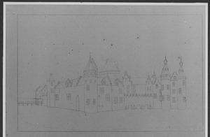 Kasteel Egmond, gezien vanuit het zuidwesten voor de verwoesting in 1573