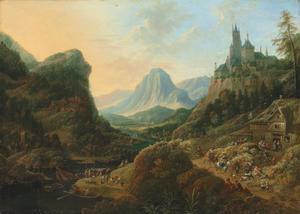 Berglandschap met feestende reizigers voor een herberg