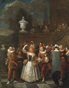 Vrolijk gezelschap met een dansend paar en een harlekijn, vanaf een balkon spelen apen muziek