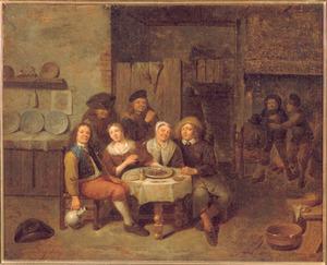 Boerengezelschap om een tafel in de gelagkamer van een herberg