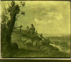 Herder en herderin met schapen in een rivierlandschap