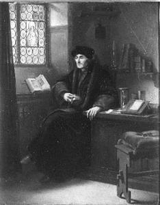 Portret van Erasmus in interieur